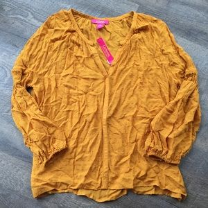 NWT Catherine Malandrino mustard polka dot blouse